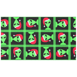 Z Fun Alien Santa Geek Humor Green And Black Fun Tablecloth