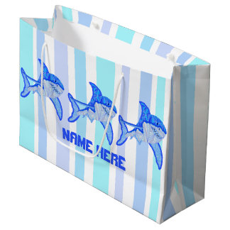 Z Great White Shark Colorful Sea Stripes Large Gift Bag