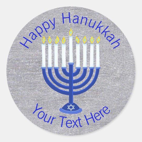 Z Hanukkah Dark Blue Menorah On Faux Silver Cute Classic Round Sticker