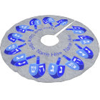 Z Hanukkah Dreidels Blue Personalised Chrismukkah Brushed Polyester Tree Skirt