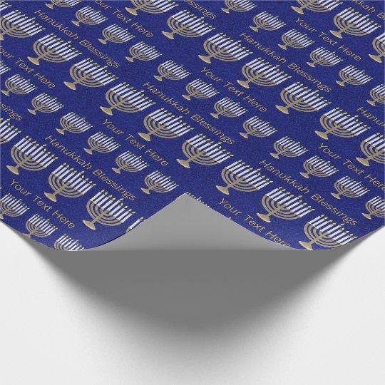 Z Hanukkah Gold Menorah Pattern Personalise This Wrapping