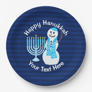 Z Hanukkah Jewish Snowman And Blue Menorah Party 9 Inch Paper Plate