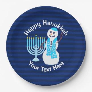 Z Hanukkah Jewish Snowman And Blue Menorah Party Paper Plate