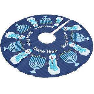 Z Hanukkah Jewish Snowman Blue Menorah Hanukiah Brushed Polyester Tree Skirt