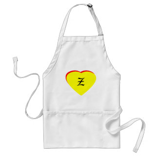 """""""Z"""" Heart Yellow Red Wedding Invitation The MUSEUM Standard Apron"""