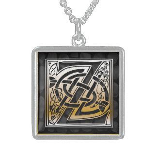 "Z Initial Monogram ""Celtic Black Stone"" Necklaces Personalized Necklace"