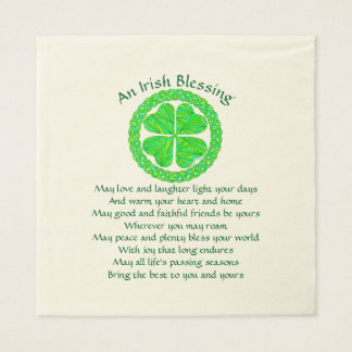 Z Irish Blessing Celtic Shamrock Disposable Napkins