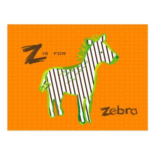 'Z is for zebra' digital painting Postcard