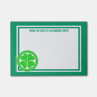 Z Lucky Celtic Shamrock 4 Leaf Clover Green Irish Post-it® Notes