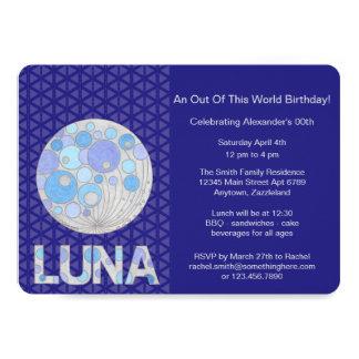 Z Luna The Full Moon Blue And Purple Space Geek 13 Cm X 18 Cm Invitation Card