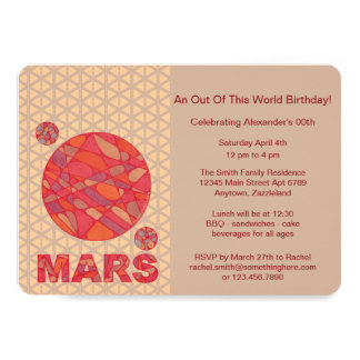 Z Mars The Red Planet Space Geek Solar System Fun 13 Cm X 18 Cm Invitation Card