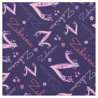 Z monogram and personalized name Zabrina fabric