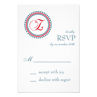 Z Monogram Dot Circle RSVP Cards Red Blue