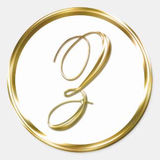Z Monogram Faux Gold Envelope Or Favor Seal Round Sticker