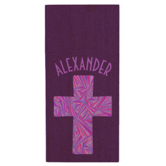 Z Purple Cross Christian Symbol Faith Religion Wood USB 2.0 Flash Drive
