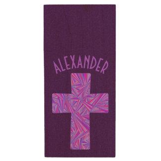 Z Purple Cross Christian Symbol Faith Religion Wood USB Flash Drive