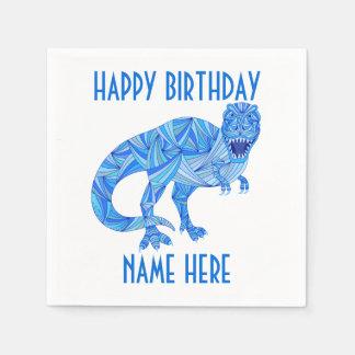 Z T-Rex Dinosaur Colorful Prehistoric Birthday Fun Paper Napkin