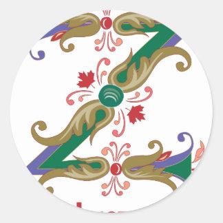Z - zed not zee round sticker