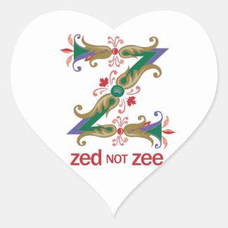 Z - zed not zee heart sticker