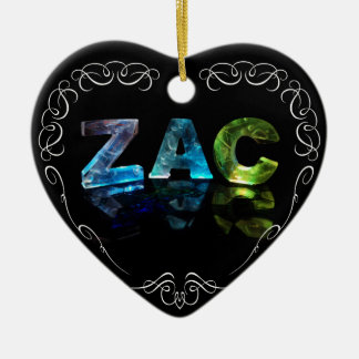Zac  - The Name Zac in 3D Lights (Photograph) Ceramic Heart Decoration