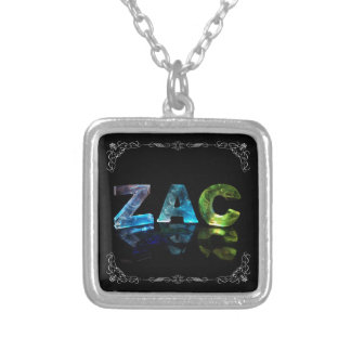 Zac  - The Name Zac in 3D Lights (Photograph) Silver Plated Necklace