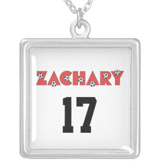 Zachary in Soccer Red Silver Plated Necklace