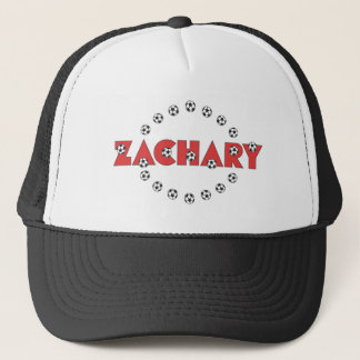 Zachary in Soccer Red Trucker Hat