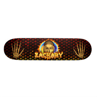 Zachary skull real fire and flames skateboard desi