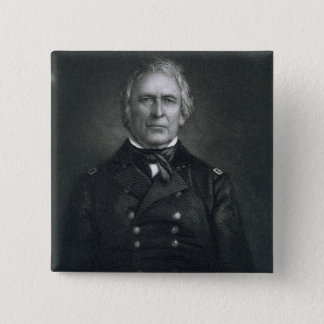 Zachary Taylor, engraved after a daguerrotype by T 15 Cm Square Badge