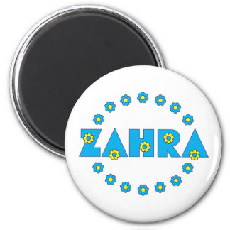 Zahra In Flores Blue Refrigerator Magnet