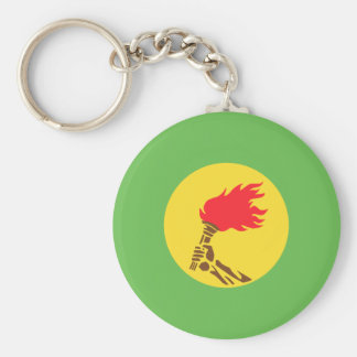 Zaire, Democratic Republic of the Congo flag Basic Round Button Key Ring