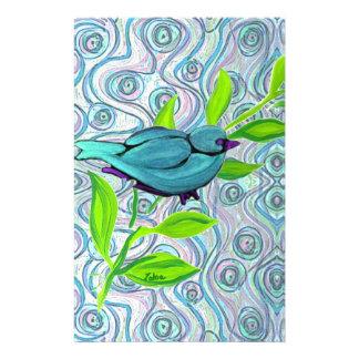 zakiaz blue bird swirl personalized stationery