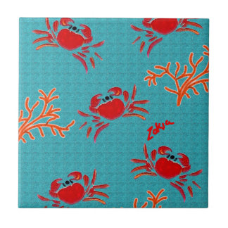 zakiaz swimming sea crabs ceramic tile
