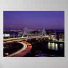 Zakim Bridge, Boston at night Poster