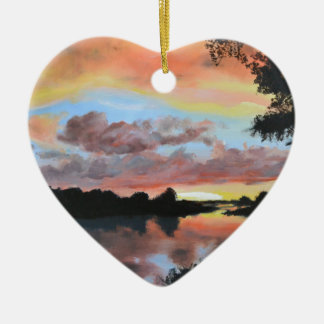 Zambezi River Reflections Ceramic Heart Decoration