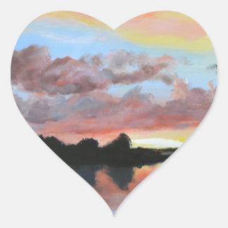 Zambezi River Reflections Heart Sticker