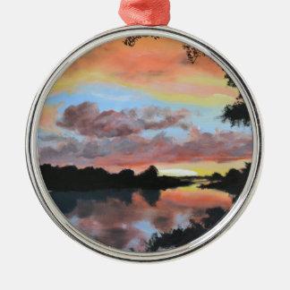 Zambezi River Reflections Silver-Colored Round Decoration