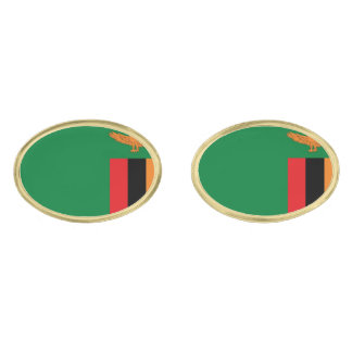 Zambia Flag Gold Finish Cufflinks