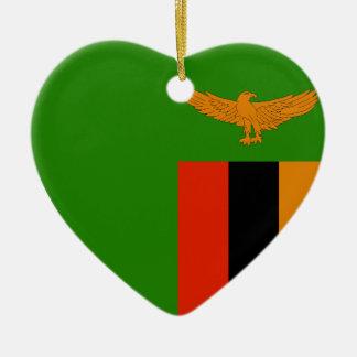 Zambia Flag Heart Christmas Ornament