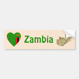 Zambia Flag Heart + Map Bumper Sticker