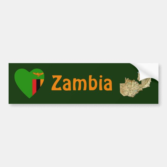 Zambia Flag Heart + Map Bumper Sticker