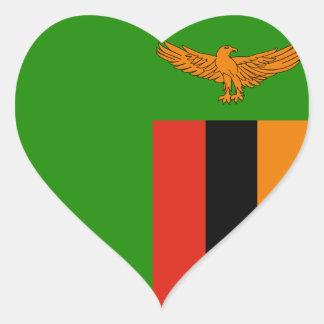Zambia Flag Heart Sticker