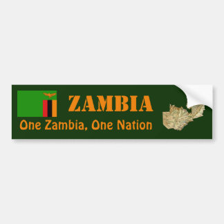 Zambia Flag + Map Bumper Sticker