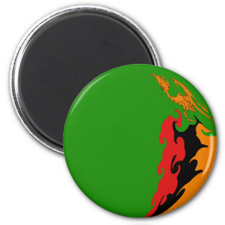 Zambia Gnarly Flag 6 Cm Round Magnet