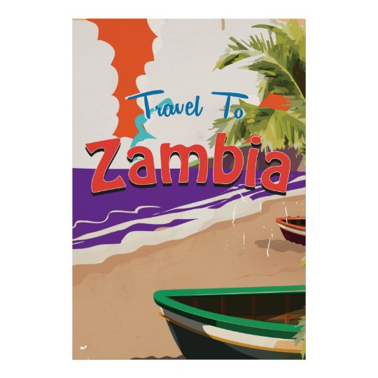 Zambia vintage travel poster