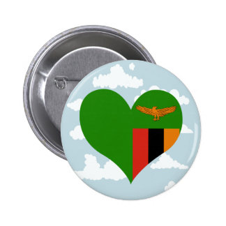 Zambian Flag on a cloudy background 2 Inch Round Button