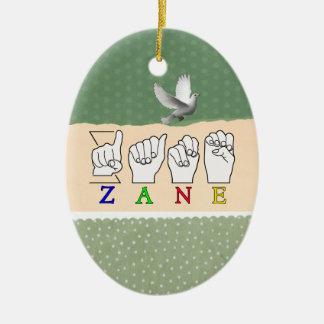 ZANE FINGERSPELLED NAME ASL SIGN CERAMIC OVAL DECORATION