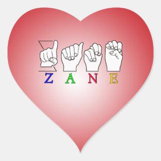 ZANE FINGERSPELLED NAME ASL SIGN HEART STICKER