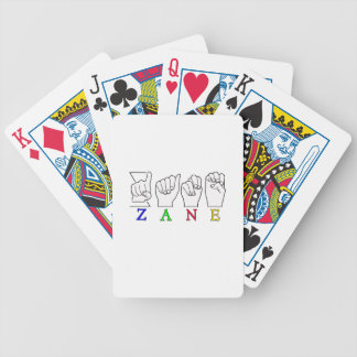 ZANE FINGERSPELLED NAME ASL SIGN BICYCLE PLAYING CARDS