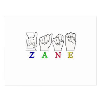 ZANE FINGERSPELLED NAME ASL SIGN POSTCARD